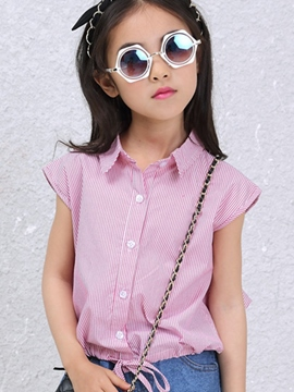 Ericdress Sleeveless Stripe Girls Shirt
