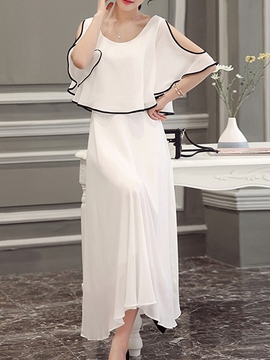 Ericdress Solid Color Cold Shoulder Cape Expansion Maxi Dress