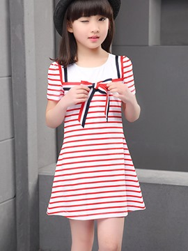 Ericdress Preppy Stripe Short Sleeve Girls Dress