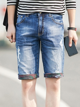 Ericdress Half Leg Denim Pocket Casual Men's Shorts