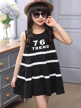 Ericdress Stripe Loose Girls Dress