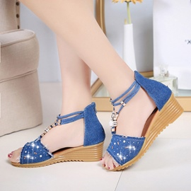 Ericdress Preppy Style Dots Canvas Wedge Sandals
