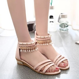 Ericdress Sweet Beaded Flat Sandals