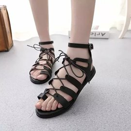 Ericdress Black Cut Out Lace up Flat Sandals