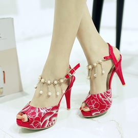 Ericdress Pearl Tassels Peep Toe Stiletto Sandals