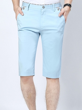 Ericdress Solid Color Half Leg Slim Men's Shorts