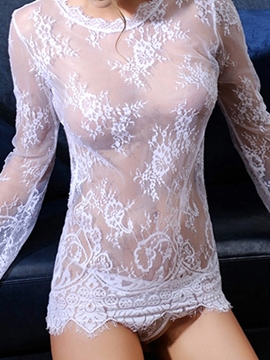 Ericdress Long Sleeve See-Through Sexy Lace Chemise