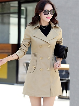 Ericdress Elegant Pleated Double-Breasted Trench Coat