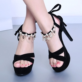 Ericdress Rhinestone Tassels Lace up Stiletto Sandals