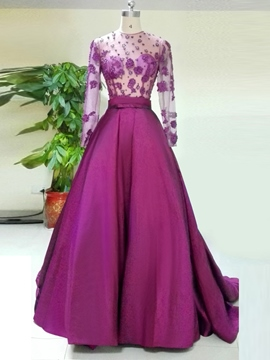Ericdress Jewel A-Line Flowers Long Sleeves Court Train Evening Dress