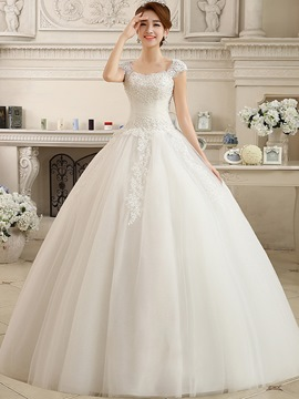 Ericdress Modest Straps Beaded Ball Gown Wedding Dress