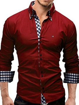 Ericdress Plaid Patchwork Long Sleeve Casual Men's Shirt