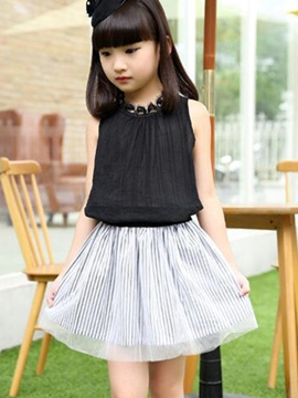 Ericdress Sleeveless Girls Skirt Outfit