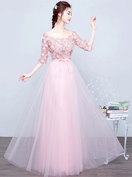 Ericdress A-Line Bateau Half Sleeves Sequins Long Prom Dress