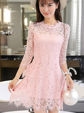 Ericdress Ladylike Three-Quarter Sleeve Lace Dress