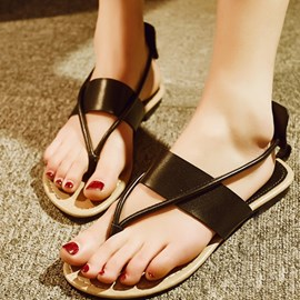 Ericdress Concise Black Thong Flat Sandals