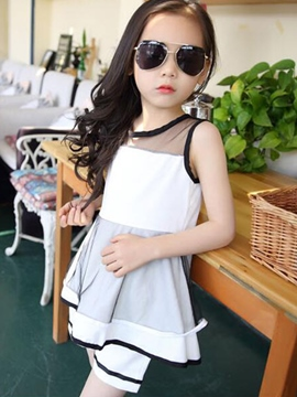 Ericdress Sleeveless Patchwork Girls Shorts Outfit