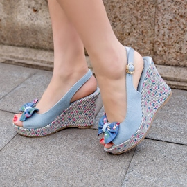 Ericdress Denim Bowtie Wedge Sandals