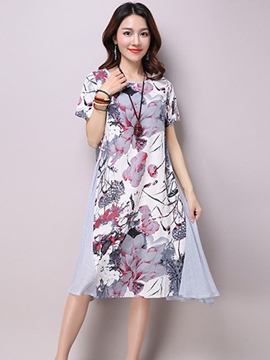 Ericdress Ethic Short Sleeve Print Casual Dress