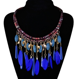 Ericdress All Match Gemstone Feather Necklace