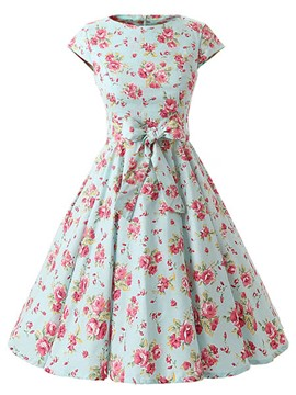 Ericdress Vintage Expansion Floral Print Casual Dress