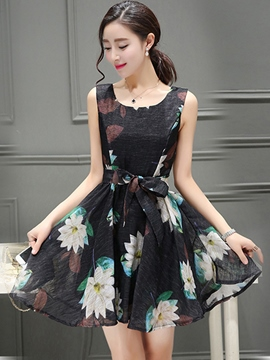 Ericdress Ladylike A-Line Print Lace-Up Casual Dress