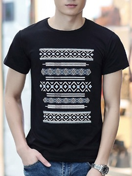Ericdress Vintage Print Casual Short Sleeve Men's T-Shirt