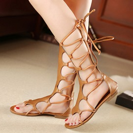 Ericdress Roman Cut Out Knee High Flat Sandals