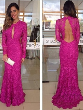 Ericdress Long Sleeves Jewel Sheath Lace Brush Train Evening Dress