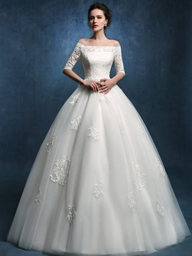 Ericdress Modest Off The Shoulder Lace Ball Gown Wedding Dress