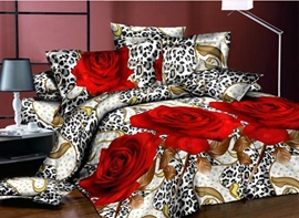 Ericdress Leopard Red Rose Print 3D Bedding Sets