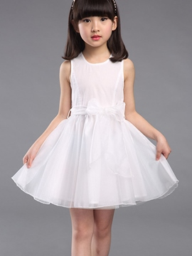 Ericdress Plain Sleeveless Girls Dress