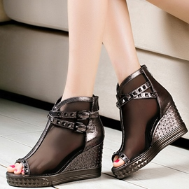 Ericdress Mesh Rivets Wedge Sandals