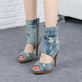 Ericdress Fashion Denim Peep Toe Stiletto Sandals