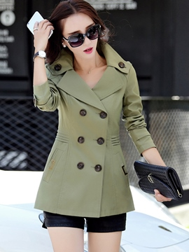 Ericdress Short Style Pleated Trench Coat