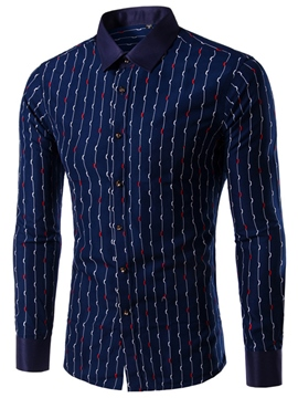 Ericdress Stripe Slim Plus Size Long Sleeve Men's Shirt