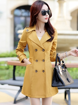 Ericdress Elegant Double-Breasted Lapel Trench Coat