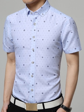 Ericdress Print Elegant Slim Short Sleeve Men's Shirt