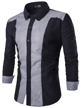 Ericdress Plaid Patched Casual Men's Shirt