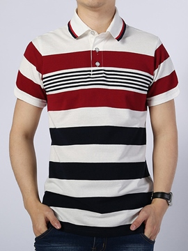 Ericdress Stripe Short Sleeve Casual Polo Men's T-Shirt