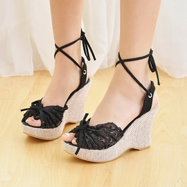 Ericdress Charming Peep Toe Lace-Up Wedge Sandals