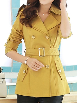 Ericdress Elegant Lace Patchwork Belt Trench Coat