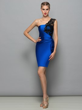 Ericdress One Shoulder Sequins Lace Sheath Cocktail Dress