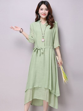 Ericdress Mori Girl Double Layer Half Sleeve Maxi Dress