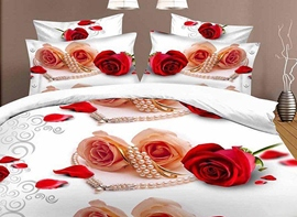Ericdress Rose And Pearl Necklace Print 3D Bedding Sets