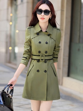 Ericdress Elegant Color Block Belt Trench Coat