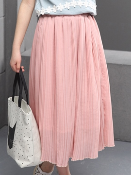 Ericdress Solid Color Pleated Girls Maxi Dress