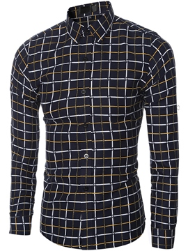 Ericdress Plaid Long Sleeve Style Men's Shirt