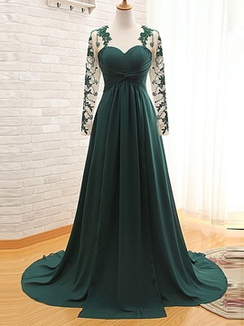 Ericdress A-Line Long Sleeves Sweetheart Appliques Pleats Court Train Evening Dress