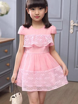 Ericdress Plain Hollow Girls Dress